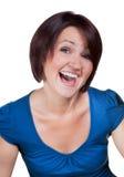 女孩微笑着与明亮的牙 免版税库存图片