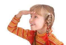 女孩快活的橙色毛线衣 免版税库存照片