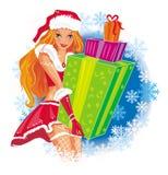 女孩性感的圣诞老人 库存图片