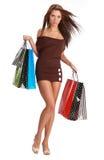女孩性感的购物 免版税库存照片