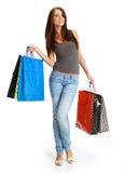 女孩性感的购物 免版税库存图片