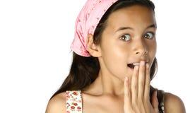 女孩惊奇年轻人 库存照片