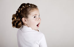 女孩惊奇的少许纵向 免版税库存照片