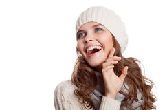 女孩惊奇 查出的冬天妇女 免版税库存图片