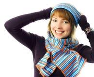 女孩愉快帽子围巾佩带 图库摄影