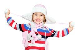 女孩愉快的冬天 免版税库存图片