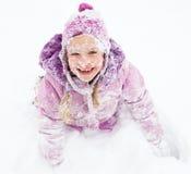 女孩愉快的冬天 免版税图库摄影