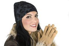 女孩愉快的冬天 免版税库存照片