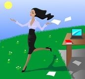 女孩愉快的办公室 免版税库存图片