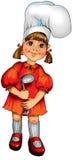 女孩愉快的厨房一点 免版税库存照片