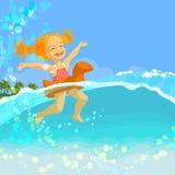 女孩愉快的可膨胀的小的环形游泳 免版税库存照片