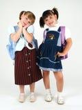 女孩愉快的学校 免版税库存照片