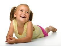 女孩愉快的小的纵向 免版税库存照片