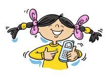 女孩愉快的移动电话 库存照片