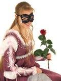 女孩愉快的红色玫瑰年轻人 库存照片