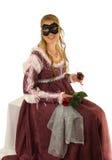 女孩愉快的红色玫瑰年轻人 免版税图库摄影