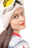 女孩愉快的纵向雪板运动年轻人 图库摄影
