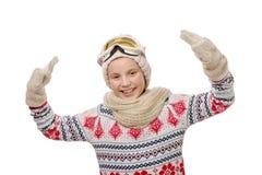 女孩愉快的纵向雪板运动年轻人 免版税库存图片