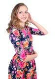 女孩愉快的纵向年轻人 免版税库存照片