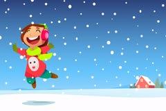 女孩愉快的跳的雪 免版税库存图片