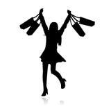 女孩愉快的购物向量 免版税库存照片