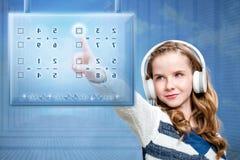 女孩感人的未来派数字式屏幕 图库摄影