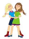 女孩战斗 向量例证