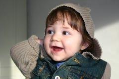 女孩戴头巾夹克 免版税图库摄影