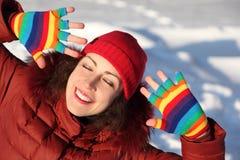 女孩手套多彩多姿微笑 图库摄影