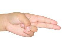 女孩手指标志枪 免版税库存照片