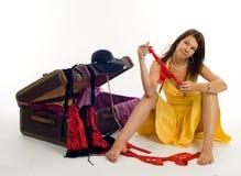 女孩手提箱 图库摄影
