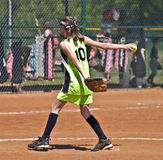 女孩投手垒球年轻人 库存图片