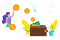 女孩投掷金币从智能手机到钱包,金钱,网上付款的给/收到的概念,把网上金钱变成cas 库存图片
