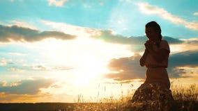 女孩折叠了她的在祷告剪影的手生活方式在日落 祈祷在她的膝盖的妇女 慢动作录影 女孩 股票视频