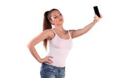 女孩拍摄了自己 免版税库存照片
