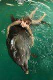 女孩拥抱在水池的一只海豚,游泳与海豚,与动物的通信 免版税库存图片