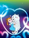 女孩拥抱玩具熊北极熊 免版税库存照片