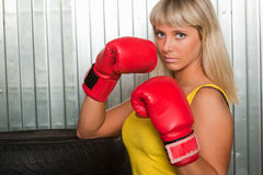 女孩拳击手 库存图片
