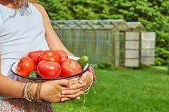 女孩拿着一个碗有很多新鲜蔬菜 库存照片