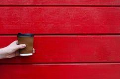 女孩拿着一杯咖啡或茶 免版税库存图片