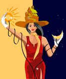 女孩拿着太阳和月亮 库存例证