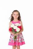 女孩拿着花 免版税图库摄影