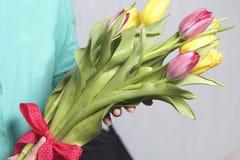 女孩拿着黄色和桃红色郁金香花束  花栓与在弓的一条红色丝带 免版税库存照片
