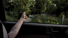 女孩捉住从车窗的空气 影视素材
