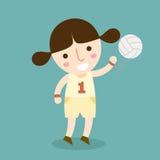 女孩排球运动员传染媒介 免版税图库摄影
