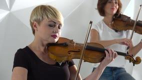 女孩播放小提琴抒情歌构成 关闭 股票录像