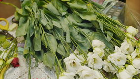 女孩收集玫瑰花束  婚礼的准备,妇女的礼物 递特写镜头 股票视频