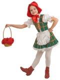 女孩敞篷少许红色骑马 免版税库存照片