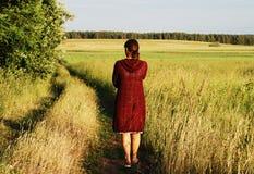 女孩敞篷红色 免版税库存图片