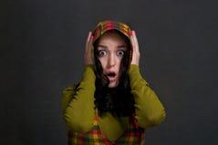 女孩敞篷tattersall 免版税库存图片